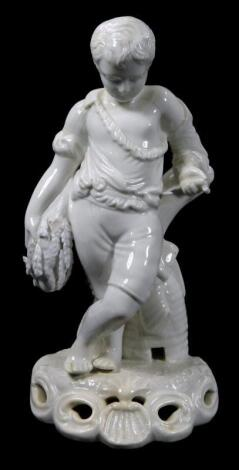 A late 19thC Derby porcelain white glazed figure