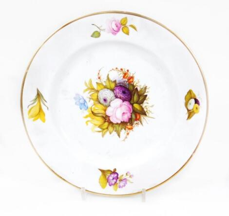 An early 19thC Derby porcelain dinner plate