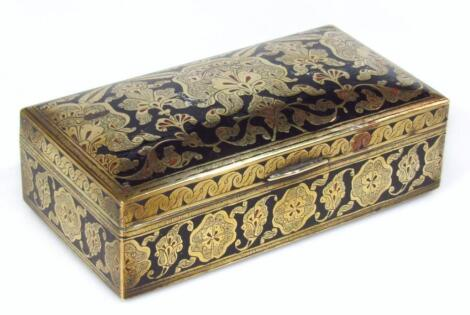 An early 20thC gilt and black metal jewellery casket