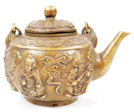 A Chinese cast metal teapot