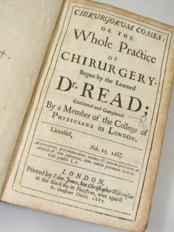 Read (Dr) Chirurgorum Comes or The Whole Practice of Chirurgery… endpapers replaced
