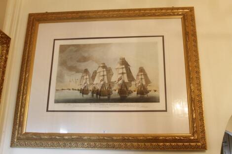 After Robert Dodd. Battle of Trafalgar