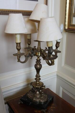 A reproduction marble and gilt brass candelabrum table lamp