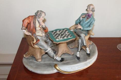 A Naples figure group of The Chess Players