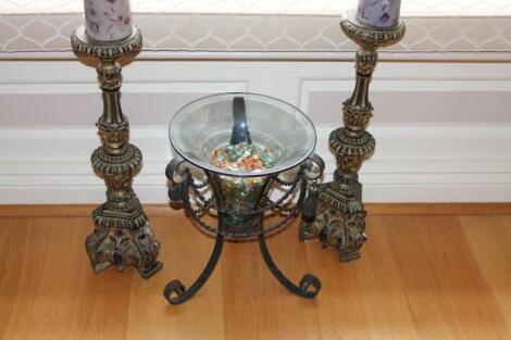 A wrought and glass planter and pair of baroque style gilt candle stands