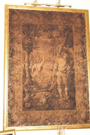 An early 20thC French tapestry of a hornblower and hunter with knife