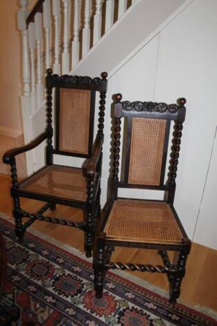 A set of six barleytwist oak dining chairs in 17thC style