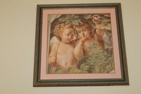 A large coloured print of cherubs