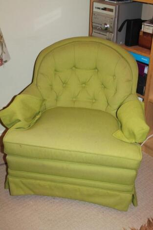 A pair of upholstered bedroom chairs