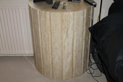 A marble demi-lune pedestal side table