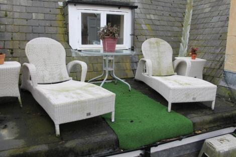 A Bridgmans 4 Seasons Outdoor two chaise longue loungers