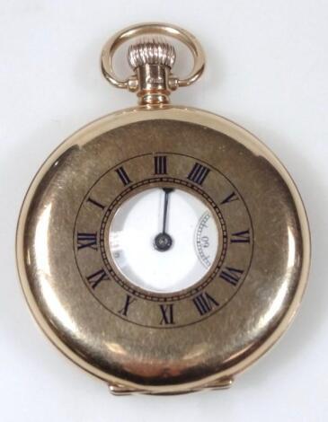 A 9ct gold Waltham half hunter pocket watch.