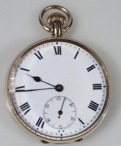 A 9ct gold cased open faced pocket watch
