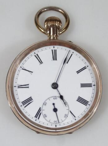 A French 9ct gold cased open faced pocket watch