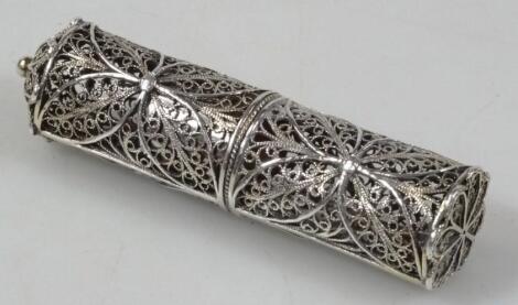 A Continental silver filigree work bodkin case