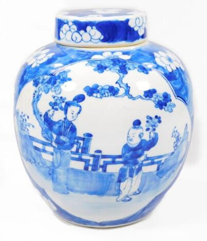 A Chinese porcelain blue and white ginger jar and cover