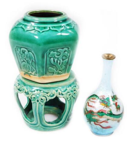 An early 20thC enamel vase