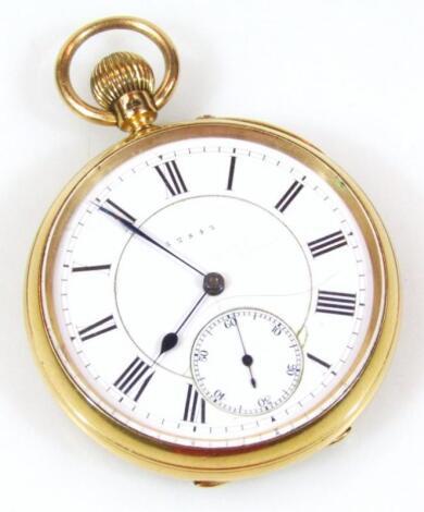 An 18ct gold gentleman's open faced pocket watch