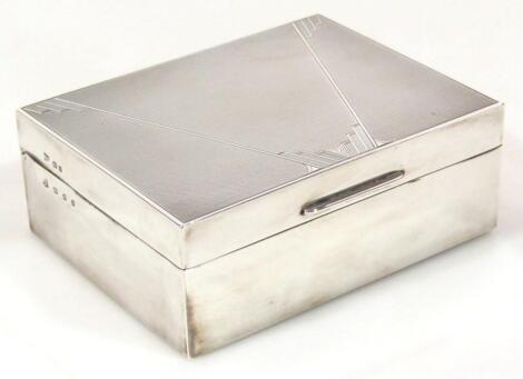 A George V silver Art Deco cigarette box