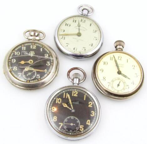 Four various mid 20thC open faced pocket watches