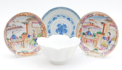 Two Cantonese porcelain saucers