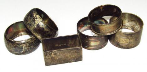 Various 20thC napkin rings