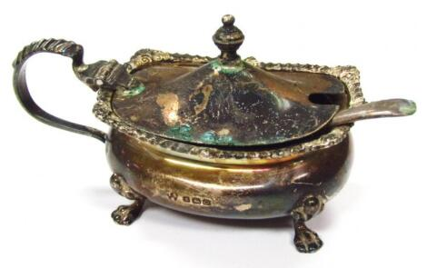 A George V silver mustard pot