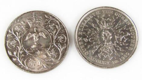 Two silver Elizabeth II Commemorative coins dated 1977.