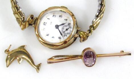 A 9ct gold cased ladies Hirco wristwatch