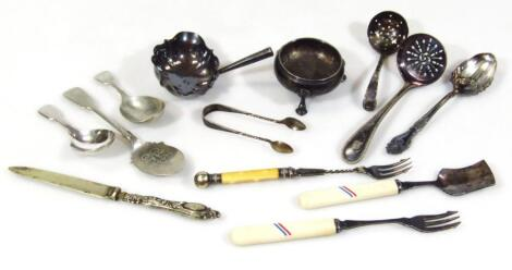 A small collection of silver and silver plated items