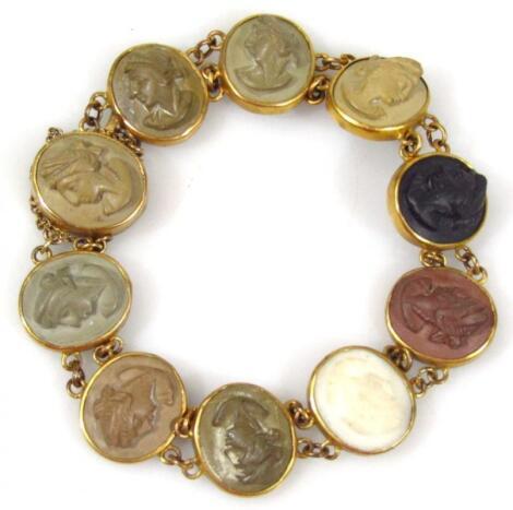 A 19thC Grand Tour style cameo set bracelet