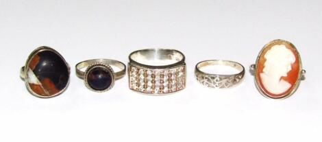 Various Sterling and other dress rings