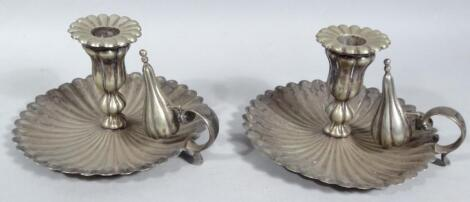 A pair of 19thC Old Sheffield plate chamber sticks