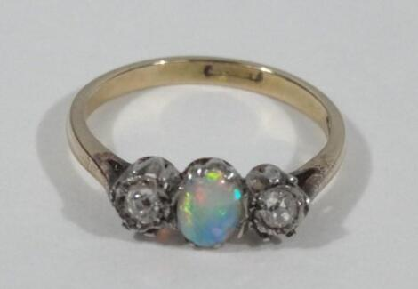 A Victorian opal and diamond dress ring