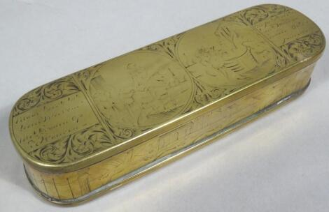A 19thC Continental brass spectacles case
