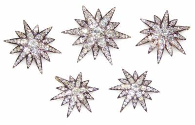 A set of five Victorian diamond set six point star emblems
