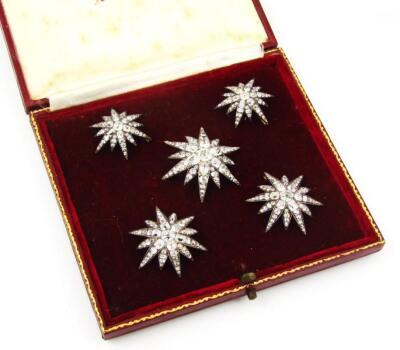 A set of five Victorian diamond set six point star emblems - 2