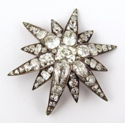 A set of five Victorian diamond set six point star emblems - 3