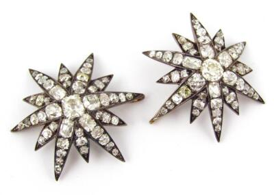 A set of five Victorian diamond set six point star emblems - 4