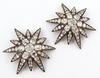 A set of five Victorian diamond set six point star emblems - 5
