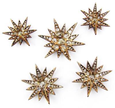 A set of five Victorian diamond set six point star emblems - 6