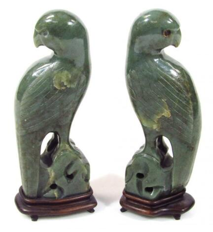 A pair of polished jade carvings