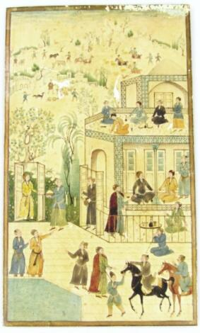 Early 19thC Persian School. Town scene with many figures
