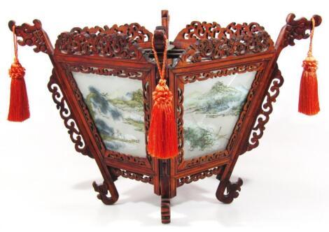A Chinese glazed and soft wood hanging lantern