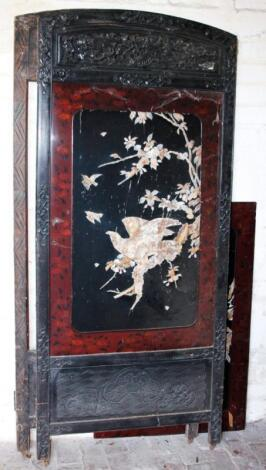 A 19thC lacquer and hardwood screen