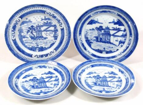 Four Chinese blue and white plates
