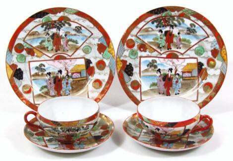 A late Meiji period Japanese egg shell porcelain double cabinet trio
