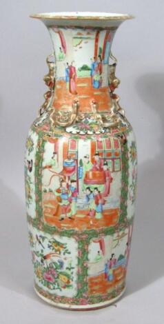 A 19thC Cantonese famille rose baluster vase