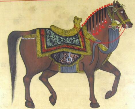 19thC Indian School. Horse with ceremonial saddle