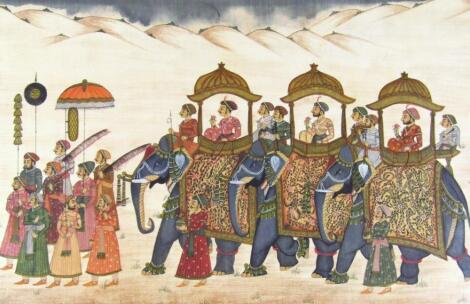 20thC Indian School. Procession of people and elephants in a desert environment